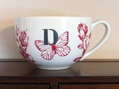 Initial Coffee Mug With Red Floral Design by EllensClayCreations, $13.95