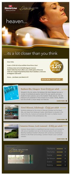 Luxury Hotel Collection email marketing campaign. Email Marketing Campaign, Internet Marketing, Online Travel, Travel And Tourism, Copywriting, Work Inspiration, Online Marketing