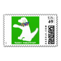 Christmas lights dog stamps by SPKCreative Stationery and Gifts go perfectly with puppy holiday cards and invitations.