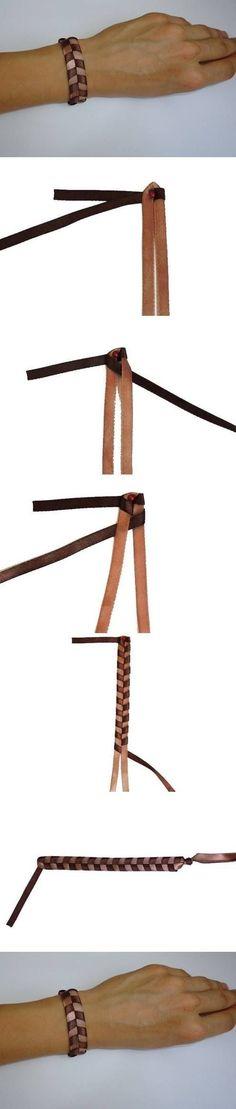 Braided leather bracelet tutorial.