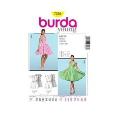 This pretty party dress has a flared circle skirt, reminiscent of the fifties, worn true to the period with a petticoat. Make it in short sleeves or sleeveless, and it's gathered with an elastic band. A Burda Style sewing pattern. Vestidos Vintage, Vintage Dresses, Vintage Outfits, Burda Sewing Patterns, Dress Patterns, Circle Skirt Dress, Miss Dress, Belted Dress, Pattern Fashion