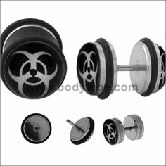 Body Accentz Plugs Earrings Rings Fake Bio Hazard Cheater Plug 16 Gauge - Sold as a Pair Fake Gauge Earrings, Plugs Earrings, Fake Plugs, 316l Stainless Steel, Body Jewelry, Men's Jewelry, Gauges, Clear Acrylic, Belly Button Rings