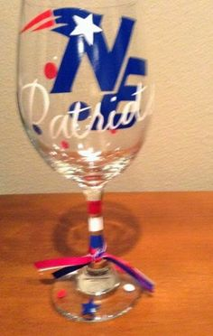 Redesigned New England Patriots Wine Glass by GameDayCheers, $12.00