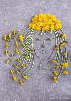 Love this: Panelė Pienė / Lady Dandelion Diy Nature, Art Et Nature, Nature Crafts, Land Art, Art For Kids, Crafts For Kids, Arts And Crafts, Nature Activities, Activities For Kids