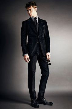 Tom Ford | Fall 2014 Menswear Collection | Style.com  Like color, texture, slim pants with jacket silhouette, and dress shirt collar.