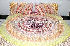 Unique Indian printed Bohemian Block Printed Bed Sheet Bed Spread Hippie Mandala Indian Tapestry, Blue Cotton Mandala Bed sheets