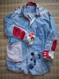 """the many lives of this shirt- Quiet like this concept of an """"elderly"""" piece of clothing that carries lots of """"stories"""" in the way of pockets/ patches etc"""