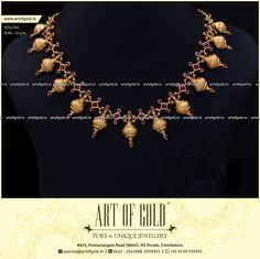 A simple gold necklace with artfully placed stones of elegant red shade. Browse for more simple gold necklace designs. Simple Necklace Designs, Gold Necklace Simple, Gold Jewelry Simple, Gold Earrings Designs, Gold Jewellery Design, Elegant, Bridal Jewelry, Stones, India Jewelry
