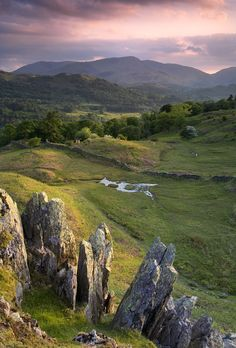 A beautifull summer evening on the Lakeland fells above Ambleside - Cumbria, England by Michael Paynton