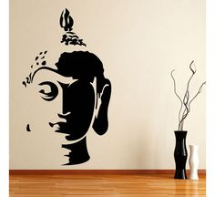 Hot Buddha Head Wall Art Sticker Decal Home DIY Decoration Wall Mural Removable Bedroom Decor Sticker Simple Wall Paintings, Creative Wall Painting, Wall Painting Decor, Buddha Wall Painting, Buddha Wall Art, Buddha Head, Wall Drawing, Bathroom Art, Bathroom Wallpaper