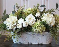 Updates von SimplyStems auf Etsy Farmhouse Decor~French Country/Cottage Decor~Table Floral Centerpiece~Hydrangeas and Peonies in a White Distressed Metal Pail French Country Kitchens, Country Farmhouse Decor, French Country Cottage, French Country Style, French Country Decorating, Farmhouse Table, Kitchen Country, French Farmhouse, Country Primitive