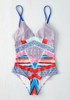 Mink Pink Pool Party Protagonist One-Piece Bathing Suit | Mod Retro Vintage Bathing Suits | ModCloth.com