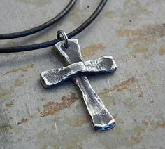 Spring Sale 20% Off! Cross Sterling Silver Christian Cross Necklace Handmade…