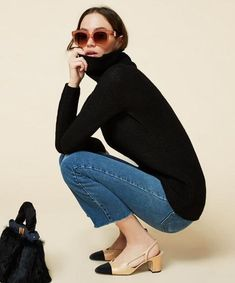 Spring's Hottest Shoes Chanel Slingbacks #NarrartiveStyleOutfits Lana Jackson DC Stylist Shop The Look Chanel Slingbacks H&M Turtleneck Madewell 10 High Riser Skinny Jeans Women's Fashion Casual Women's Style Casual Spring Outfits Casual Denim Outfits Den