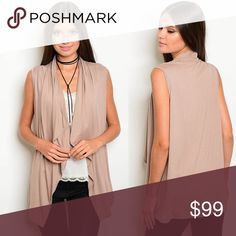 """NEW ARRIVAL😍 beige vest TAUPE  Sleeveless drape open front jersey vest. Country: USA Fabric Content: 95% RAYON 5% SPANDEX Size Scale: S-M-L Description: L: 28"""" B: 44"""" W: 44"""" must have Jackets & Coats Vests"""