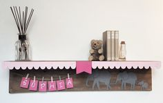 Items similar to Personalized Name Shelf - Baby nursery wall shelf - elephant decor - Pink Nursery Decor - - Custom name shelf on Etsy Nursery Wall Shelf, Nursery Room, Nursery Decor, Baby Room Shelves, Elephant Themed Nursery, Art Base, Unique Baby, Baby Decor, Custom Art