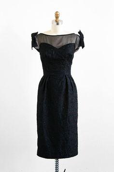 vintage 1950s shimmering black illusion bows dress | #vintage