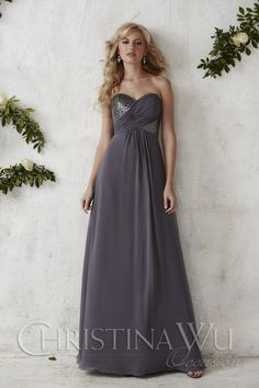 """Bridesmaid Dress by Christina Wu - 22687"" Chiffon strapless gown with sequin pleated bodice. 22687 is available in 3 different lengths knee tea and full and any sequin bodice with any sequin skirt pictured in Charcoal"