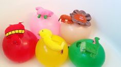 Five Wet Balloons with Animals Learn Colours Balloon Finger Family Nurse...