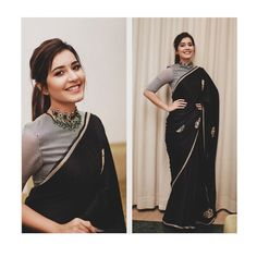 Raashi Khanna looking classy and pretty in a black Raw Mango saree for An emerald choker by Minerali Store. Love the messy ponytail look and a small black bindi rounded her look. Sari Blouse Designs, Fancy Blouse Designs, Black Saree Designs, Sari Design, Dress Designs, Diy Design, Trendy Sarees, Stylish Sarees, Patiala