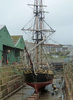 old sailing ship in Penzance dry dock
