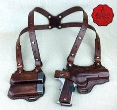 Handmade 1911 Shoulder Holster with Magazine Carrier Custom sizes available, shoulder Rig by arcadiancraftsman on Etsy 1911 Holster, Gun Holster, Leather Holster, Leather Pouch, Custom Holsters, Leather Projects, Guns And Ammo, Concealed Carry, Custom Leather