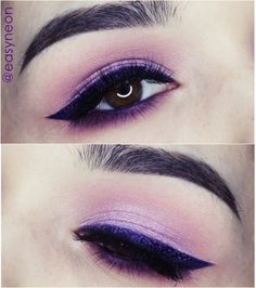 purple liner + soft pink eye | makeup @easyneon