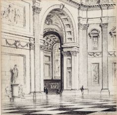 LLOYD REES (1895-1988)  Untitled (St Paul's Cathedral, London) 1924 ink on paper 20.0 x 20.0 cm signed and dated lower right: LLOYD REES/ 1924