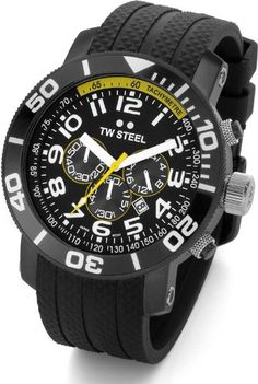 """TW Steel Men's TW74 """"Grandeur Divers"""" Black Watch. Quality Japanese-Quartz movement. Mineral crystal. Case diameter: 45 mm. Stainless-steel case; Black dial; Date function. Water resistant to 330 feet (100 M): suitable for snorkeling, as well as swimming, but not diving."""