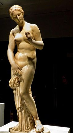 """Aphrodite Roman copy of 4th century BCE original by Praxiteles from Ostia, Italy   Piece exhibited as part of """"The Body Beautiful in Ancient Greece"""" assembled by The British Museum and Photographed at the Portland Art Museum in Portland, Oregon."""