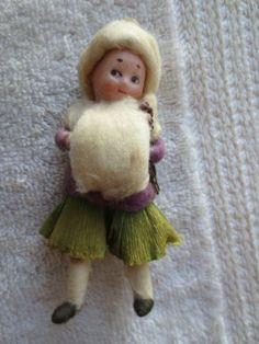 Antique Heubach Spun Cotton Bisque Ornament Girl | eBay