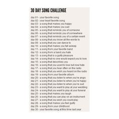 30 Day song challenge ❤ liked on Polyvore featuring challenges, words, backgrounds, random, quotes, text, fillers, phrase and saying