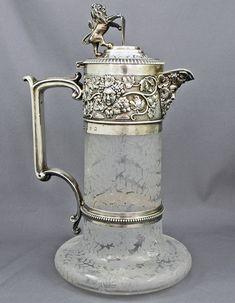 Elkington sterling silver and etched glass Claret jug...