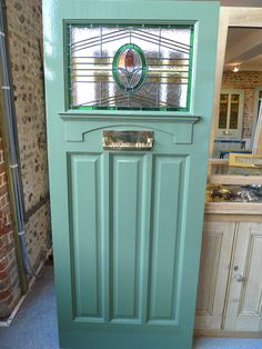 1930 Furniture Styles | 1930's Stained Glass Front Door with rectangular stained glass panel ...