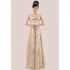 $52.17 Charming Rhinestone Paillette Bowknot Embellished Strapless Floor-Length Evening Dress For Women