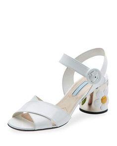S0GPB Prada Patent Leather Flower-Heel Sandal, White (Bianco)