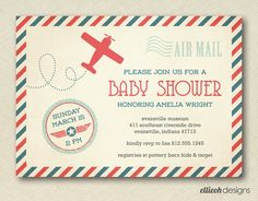 airplane baby shower invite vintage inspired by ellieohdesigns