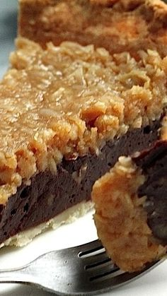 Food Photography: Chocolate Coconut Pecan Pie - Home Just Desserts, Delicious Desserts, Yummy Food, Homemade Chocolate, Chocolate Recipes, German Chocolate Brownies, Homemade Snickers, Chocolate Chocolate, Chocolate Cheesecake