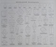 MINERALOGIE KRYSTALLOGRAPHIE GEOGNOSIE 2 Drucke Faksimile Holzschnitt art print | eBay