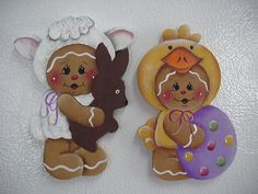 HP~~Gingerbread Lamb Chocolate Bunny Easter Chick egg (2 piece) ~~ Fridge Magnet