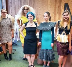 Emerging designers (left to right) with models: -Sam Martin of House of Gaud -Model wearing yellow House of Gaud design -Rebecca Peterson of Cup & Penny wearing Cup & Penny little black dress -Model wearing Cup & Penny design -Brandy Cole of Brand Dee #fashion #design #emerging #students #designers #apparel #garment #models #preview #fallfashion