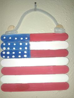 Flag made from popscicle sticks. Very cute.