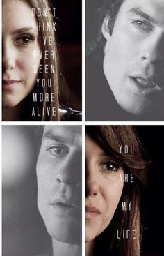 "#TVD The Vampire Diaries Elena & Damon ""Don't think I've ever seen you more alive, you are my life"""