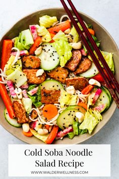 Fresh veggies, pan-fried tempeh, and delicious soba noodles - this cold soba noodle salad recipe is nutritious, vegan, and gluten-free! Ready in 30 minutes. Summer Salad Recipes, Healthy Salad Recipes, Summer Salads, Cold Soba Noodle Salad Recipe, Buckwheat Soba Noodles, Lime Dressing, Asian Recipes, Cooking Recipes, Gluten Free