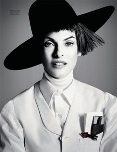 Linda Evangelista Dons Menswear Looks for Interview Russias September Cover Story