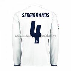 Fodboldtrøjer La Liga Real Madrid 2016-17 Sergio Ramos 4 Hjemmetrøje Langærmede