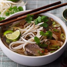 This popular soup from Vietnam features rice noodles, flavorful soup stock, medium rare slices of beef and fresh herbs.