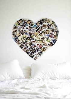 Dorm decor... a heart collage of photos.