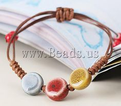 Porcelain #Bracelet, with #Wax #Cord, #handmade, #adjustable, http://www.beads.us/product/Porcelain-Bracelet_p91791.html?Utm_rid=219754