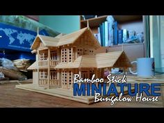 Bamboo Stick Miniature House - Bungalow House - YouTube